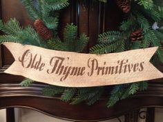 "Primitive Olde Thyme Primitives 4"" Wired Burlap Ribbon Banner Ornament Garland"