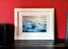 Was ich in groß kann, geht auch im kleinen Maßstab. Ruhige Wasseroberfläche beim Sonnenuntergang. 30 x 20 cm auf Leinwand. verkauft
