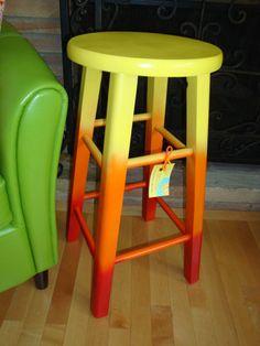Hand-painted Upcycled Joyful 'Sitting On Sunshine' Wood Stool in bright & sunny yellow, orange, red. $40.00, via Etsy.