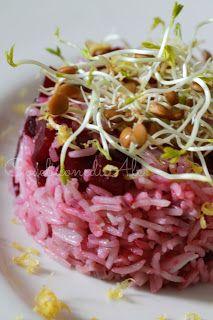 CosebuonediAle:+basmati+con+barbabietola+e+germogli+di+lenticchie