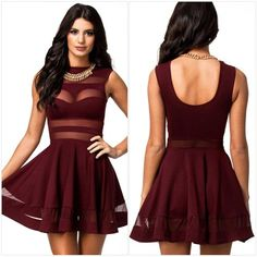 Piggy2gether Sexy Transparent Mesh Fabric Stitching Open Back Night Party Dress * Check out the image by visiting the link.(This is an Amazon affiliate link and I receive a commission for the sales)