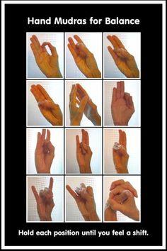 Hand Mudras for Balance - I know this isn't necessarily for Reiki but I didn't have another board for it Chakra Meditation, Kundalini Yoga, Pranayama, Mindfulness Meditation, Reiki, Mind Body Spirit, Mind Body Soul, Alternative Health, Alternative Medicine