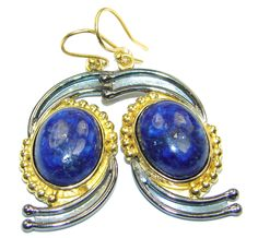 $72.55 Exclusive+genuine+Lapis+Lazuli++Gold+plated+over+Sterling+Silver+earrings at www.SilverRushStyle.com #earrings #handmade #jewelry #silver #lapislazuli
