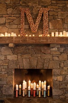Mantle idea. Like the natural stone/rustic wood