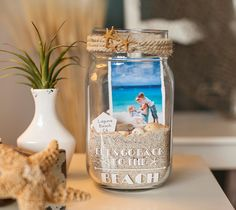 Beach Memory Jar- we can take a picture of all the girls at the beach early then send it to Walgreens to be printed from our phones and throw the photos in these before they leave.                                                                                                                                                     More