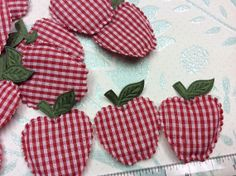 10 Gingham Padded Apple Appliques by creationandsupplies on Etsy, $3.25