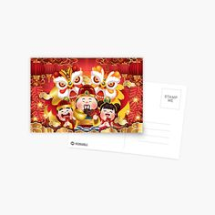 Chinese Holidays, All Holidays, Chinese New Year, Mid Autumn Festival, Postcard Design, Top Artists, Sell Your Art, Lions, Tapestry