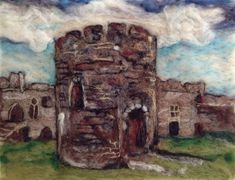print of watercolour painting of bodiam castle by artist