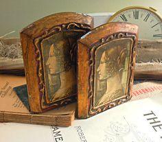 Fabulous Vintage Italian Florentine Folding Bookends / Gold Gilt / Renaisance / Florentine Bookends / Vintage Bookends