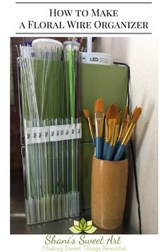 Organizing tips and tricks for all of your cake decorating tools and supplies.  Learn how to make a floral wire organizer using bubble tea straws. via @shanissweetart