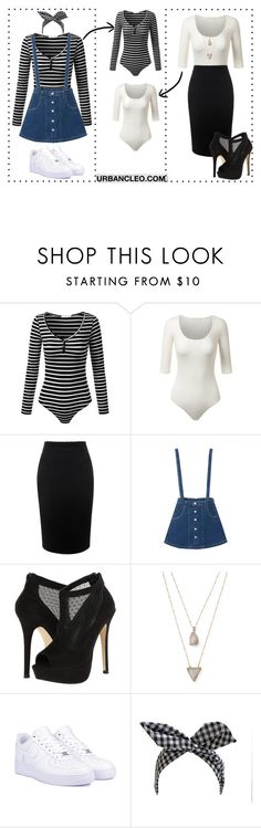 """""""URBANCLEO Fitted Scoop Neck Bodysuit"""" by urbancleo ❤ liked on Polyvore featuring Alexander McQueen, Call it SPRING, Panacea, NIKE and Retrò"""