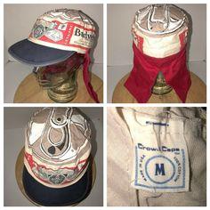 cf6491cb Vintage BUDWEISER 80 USA Crowd Cap Hat NECK SUN CAPE Biker Beer Can Bud ALL  OVER