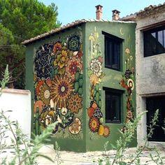 Mural Mandalas by Koraije & Supakitch 's Wall Paint 's Installation / France Murals Street Art, Graffiti Art, Mural Wall Art, Mural Painting, Paintings, Fence Art, Outdoor Walls, Outdoor Wall Art, Public Art