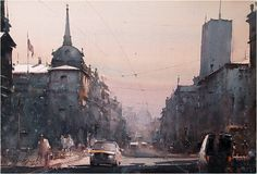 Dusan Djukaric    Street King Milan, watercolor, 38x56 cm