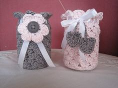 Handmade by Ann - With love: Ann's gratis patroontjes Candle Jars, Mason Jars, Candles, Crochet Jar Covers, Make Your Own Clothes, Bottle Cover, Pots, Diy Crochet, Crochet Stitches