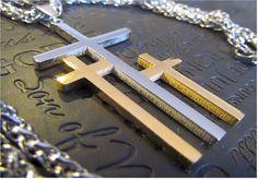 Large Silver Gold Calvary 3 Cross Necklace Pendant Heavy Chain Men Boys Christian Jewelry - Saint Michaels Jewelry - Calvary Three Cross