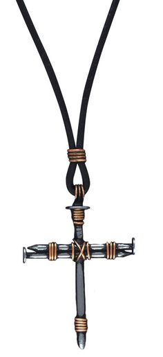 """[""""A simple but modern design that's both rugged and soft at the same time, this unique cross pendant is made with metal nail-shaped pieces held together with copper-colored wire. Perfect for men, this contemporary cross pendant makes a bold statement about Christ's sacrifice for us. <br><br>Necklace includes a 30"""" leather cord. <br><br><b>Product Details:</b><br>Pendant size: 1""""(W) x 1-1/4""""(H)""""] $17.99"""