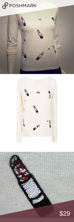 NAF NAF Paris woman white wool sweater New with out tag NAF NAF Sweaters Crew & Scoop Necks