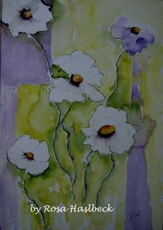 Das Aquarellbild Blumen ist mit viel Liebe mit Aquarellfarben auf Aquarellpapier gemalt, ein tolles Deko für Deine Wand.