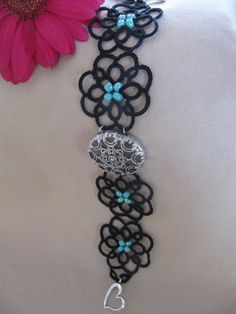 Black and Turquoise Tatted Bracelet