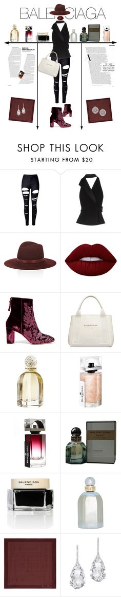 """""""Untitled #50"""" by alma994 ❤ liked on Polyvore featuring WithChic, Balenciaga, Janessa Leone, Lime Crime, Alexandre Birman, Gieves & Hawkes, Plukka and Fallon"""