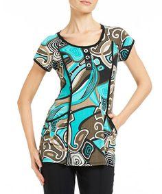 Aqua Abstract Pocketed Tunic #zulily #zulilyfinds
