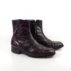 Leather Ankle Boots 1970s Burgundy Brown by purevintageclothing