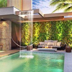 😍 Passe na OAB- link na bio! 😍 Pass the OAB- link in bio! Backyard Pool Designs, Swimming Pools Backyard, Swimming Pool Designs, Pool Landscaping, Villa Design, Zen Design, Design Ideas, Dream Home Design, Modern House Design