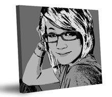 Portraits en Noir et Blanc, mono-colores, ou dichromatiques.  Le tableau Pop Art personnalisé peut être aussi réalisé sans couleur, ou avec une seule couleur, ce qui donne au tableau une allure élégante indémodable.  Prix à partir de 49,80 euros, pour un poster à partir d'une photographie personnelle, livraison incluse.  Un beau cadeau artistique, pour soi ou pour un autre, à commander sur www.personal-art.fr.