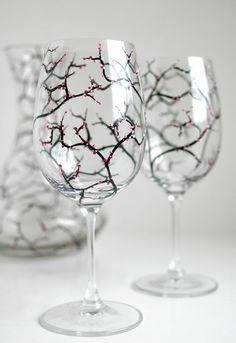 Printemps Cherry Blossom Wine Glasses Set de par MaryElizabethArts, $40.00