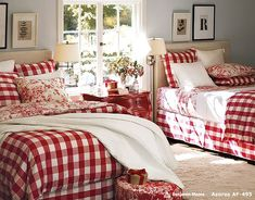 Christmas : Wonderful Bedrooms in Christmas Decorating Themes - Cute Christmas Decorations in Shared Girls Bedroom with Red-White Plaid Comforter Motif and Floral Bedding and Throw Pillows Pattern also Dark Cherry Wood Bedside Table medium version