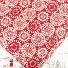 "red & cream cotton fabric #K176 £6.36 per yd, 44"" wide"