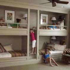 Neat built in bunk bed idea, not sure where original source is