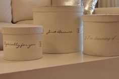 Diy - Round boxes painted white and decorated with Riviera Maison´s textile ribbon <3