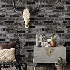 HaokHome 151010 Vintage Faux Brick Textured Wallpaper Roll Grey Dark Gray 3D Home Room