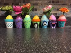 Hand Painted mini terracotta pots using Acrylic paints in Matte /Gloss /Metallic. Added an Easter egg with a battery operated tealight inside for a nightlight appearance. #Eastereggs #claypots #flowerPots #Easterbaskets