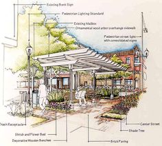 Rent Pergola For Wedding Architecture Portfolio Layout, Plans Architecture, Landscape Architecture Design, Architecture Graphics, Architecture Visualization, Architecture Drawings, Landscape Sketch, Landscape Plans, Urban Landscape