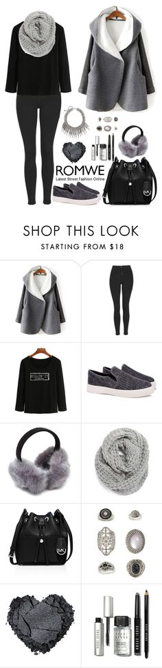 """""""Romwe 2"""" by amra-f ❤ liked on Polyvore featuring Topshop, Halogen, MICHAEL Michael Kors, Bobbi Brown Cosmetics, Winter, 1d, romwe, 5sos and gray"""