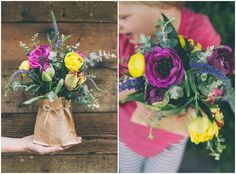 Tulips Veronica Ranunculus Anemones Eucalyptus  To make these vases you will need to fill a mason jar with water and set inside a brown pape...