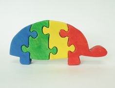 Rainbow Turtle Wooden Puzzle  4 Pieces by berkshirebowls on Etsy, $19.99