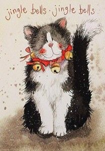 Alex Clark Charity Christmas Cards Jingle Bells Cat Pack of 5 and like OMG! get some yourself some pawtastic adorable cat apparel! Charity Christmas Cards, Vintage Christmas Cards, Christmas Pictures, Illustration Noel, Christmas Illustration, Illustrations, Christmas Animals, Christmas Cats, Winter Christmas