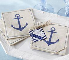 anchors away muslin coasters nautical wedding favorsnautical