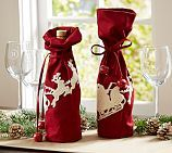 Sleigh Bell Crewel Embroidered Wine Bag