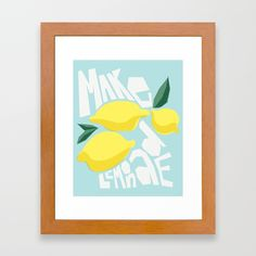 Buy Make Lemonade Framed Art Print by kristenlourie. Worldwide shipping available at Society6.com. Just one of millions of high quality products available.