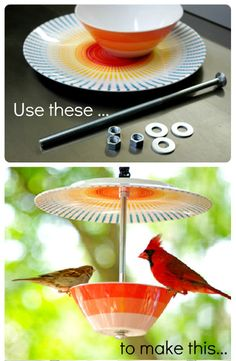 DIY: Make a bird feeder out of a bowl and a plate
