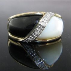 A Mother of Pearl, Onyx and Diamond dress ring. This beautiful ring is set in yellow gold. Vintage Diamond, Vintage Rings, Unique Vintage, Pearl Ring, Pearl Jewelry, Diamond Rings, Diamond Engagement Rings, Galway Ireland, Dress Rings