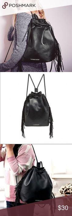 ⭐️VIctoria's Secret Black Leather Fringe Bag pack NWT nwt nwt nwt ✅✅✅🎉🎉⭐️⭐️⭐️⭐️⭐️ Victoria's Secret Bags Backpacks