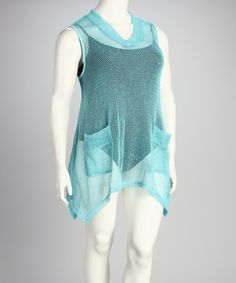 Take a look at this Kaktus Aqua Sheer Plus-Size Sidetail Cover-Up by Kaktus on #zulily today!