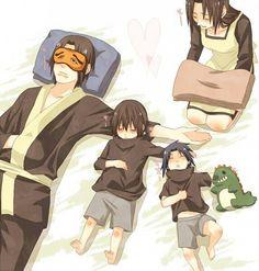 Uchiha family, sleeping, cute, Fugaku, Mikoto, Sasuke, Itachi, stuffed toy, dinosaur, sleeping mask, young, childhood, text; Naruto