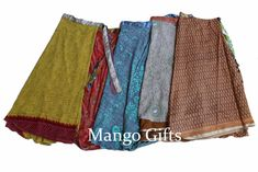 Wholesale Lot 5 Pcs Vintage Silk Blend Sari Recycled Wrap Around Skirts  #Unbranded #SkirtSet